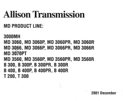 Allison Service Manual MD Product