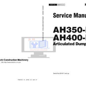 Hitachi AH350D , AH400D Articulated Dump Workshop Manual