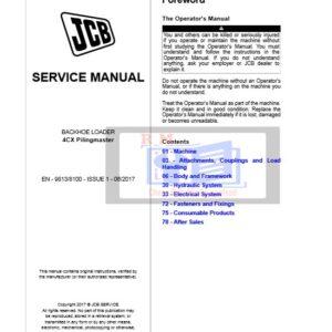 Jcb 4CX Backhoe Loader [Pilingmaster] Service Repair Manual