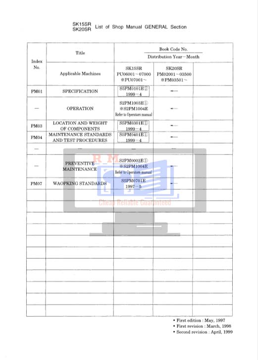 Kobelco SK20 Workshop Manual