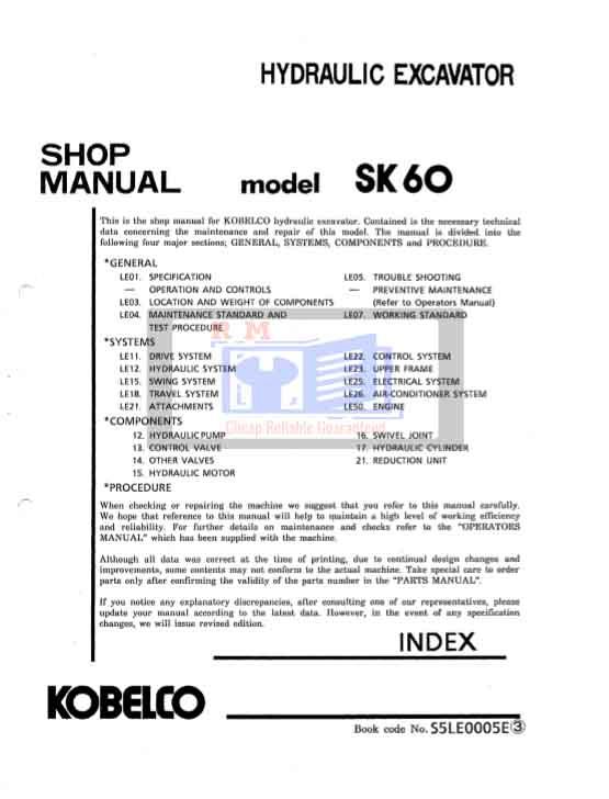 Kobelco SK60 Workshop Manual