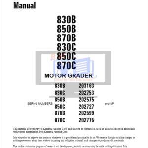 Komatsu Motor Grader 830 to 870 Series Workshop Manual