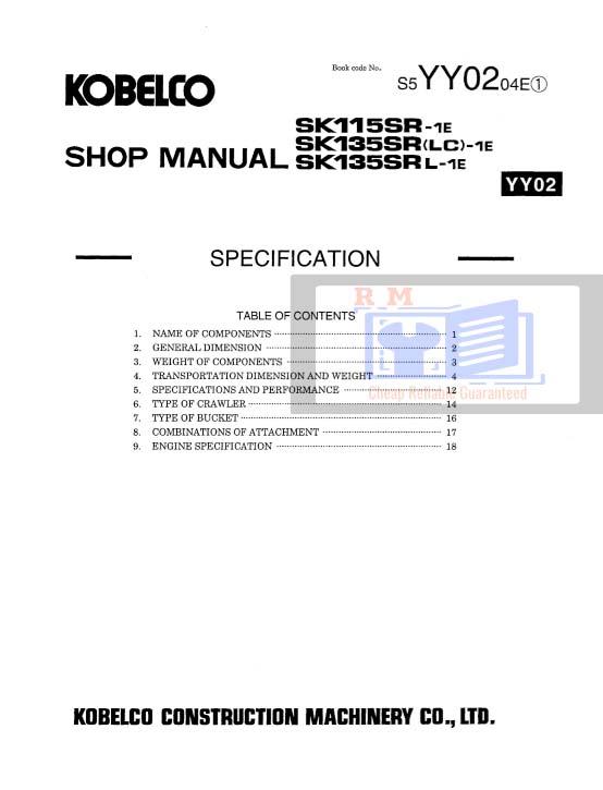 Kobelco Excavator SK135SR Workshop Manual