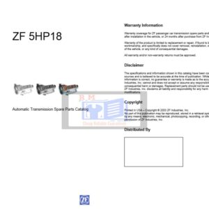 ZF 5HP18 Automatic Transmission Spare Parts Catalog