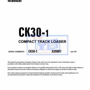Komatsu CK30-1 Compact Track Loader Workshop Manual