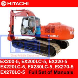 Hitachi EX200-5, EX200LC-5, EX220-5, EX220LC-5, EX230LC-5, EX270-5, EX270LC-5 Full Set of Manuals