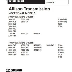 Allison Transmission VOCATIONAL MODELS Troubleshooting Manual