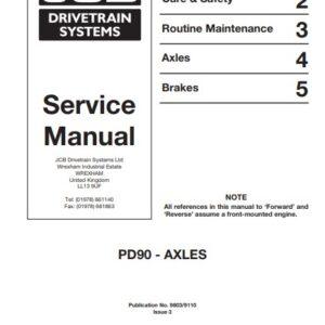 JCB Drivetrain PD90 Axles Service Repair Manual