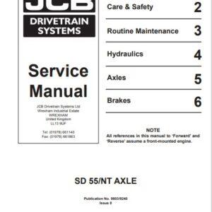 JCB Drivetrain SD55 NT Service Repair Manual