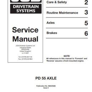 JCB Drivetrain PD55 Series Axles Service Repair Manual