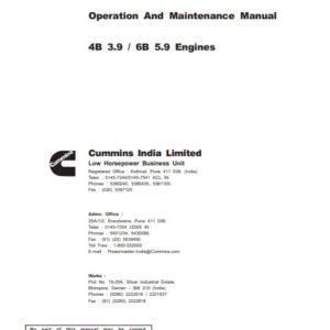 Cummins 4B 3.9 , 6B 5.9 Engines Operation & Maintenance Manual