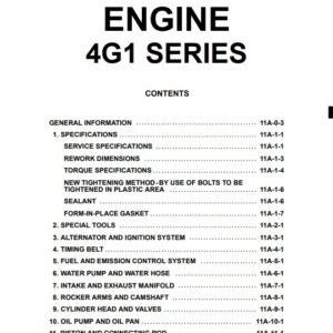 Mitsubishi 4G1 Series Engine Workshop Manual