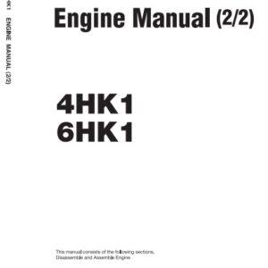 Isuzu 4HK1, 6HK1 Engines Manual Related With Hitachi Product