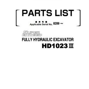 KATO Hydraulic Excavator HD1023III Parts Manual