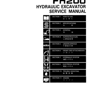 Fiat Hitachi Hydraulic Excavator FH200 Service Manual