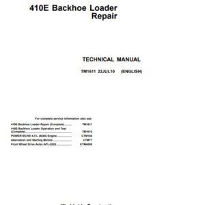 John Deere 410E Backhoe Loader Technical Repair Manual