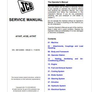 JCB 411HT, 413S, 417HT Wheeled Loader Service Repair Manual