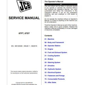 JCB 6TFT, 6TST Dumper Service Repair Manual