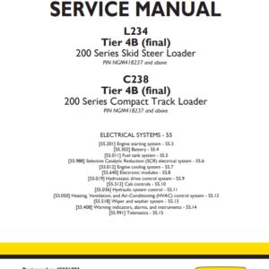 New Holland L234 Skid Steer, C238 Compact Track Loader Service Manual