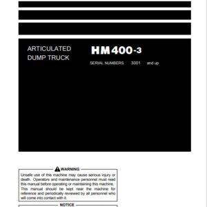 Komatsu HM400-3 Japan Dump Truck S.N 3001-UP Operation and Maintenance Manual