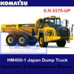 Komatsu HM400-3 Japan Dump Truck S.N 3375-UP Operation and Maintenance Manual