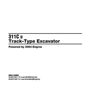 Caterpillar 311CU Excavator Parts Manual