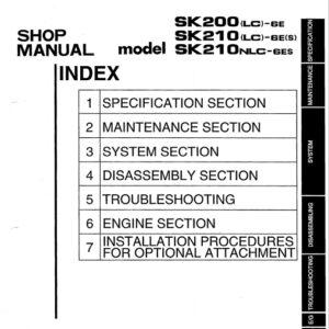 Kobleco SK200LC-6E, SK210LC-6E, SK210NLC-6E Workshop Manual